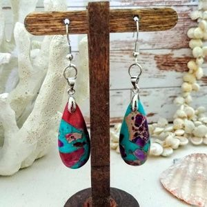Blue-Purple Sea Sediment Jasper Earrings